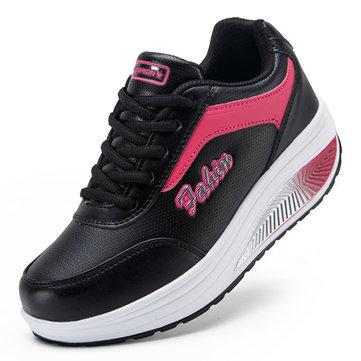 Sport féminin casual chaussures de course lacets secouait chaussures souples semelle de chaussures de sport