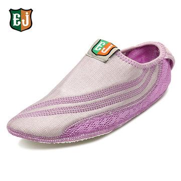 Ej femmes coton crochet coloré boucle confortable Yoga ballet danse sportive décontractée chaussures maison plat
