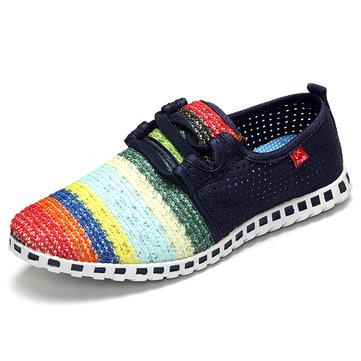 Rayures arc-en maille respirante glisser sur les chaussures de sport chaussures de marche occasionnels