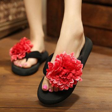 Grandes femmes de taille loisirs pantoufles bohême tongs décoration florale sandales