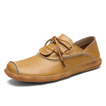 Men& Hand& Stitching& Soft& Chaussures& en cuir véritable en dentelle en cuir véritable Oxfords