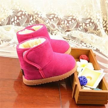 Enfant fille garcon épaissir bébé au chaud classiques bottes de neige enfants fourrure en peluche chaussures d'hiver&