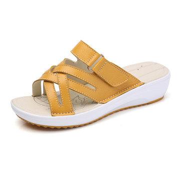Chaussure& en& cuir& à& chaussures& ouvertes Toe Casual Beach Sandales plates extérieures