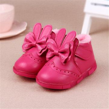 Hiver au chaud LED chaussures bottes de neige espadrilles flash filles princesse enfants bowknot&