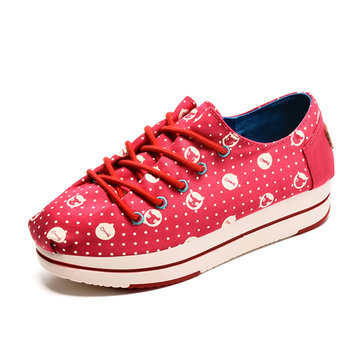 Les femmes chaussures casual chic lacent plateforme chaussures de toile chaussures colorées de loisirs