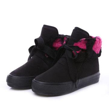 Hiver garder chaud court bottes doublure en fourrure coton lacets jusqu'à chaussures