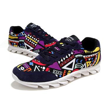 Hommes lacent motif graffiti chaussures en toile coloré sport occasionnels