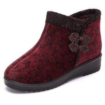 Doublure en fourrure femmes chaussures en coton garder chaude peluche plats bottes de neige occasionnels
