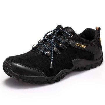 Hommes Sprot chaussures de course en cuir bout rond lacent chaussures de randonnée antidérapant