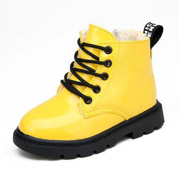 Enfants unisexe hiver en peluche chaude étanche PU cuir occasionnels bottes