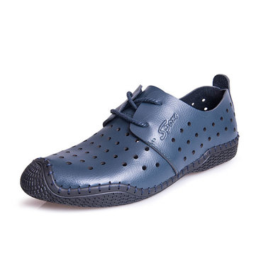 Hommes chaussures en cuir évider occasionnels de la mode respirante en plein air chaussures oxfords plates