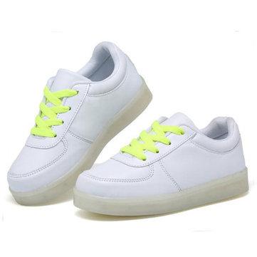 Les enfants adolescent LED light baskets cuir d'unité centrale de kid casual briller garcons filles de la dentelle de sport chaussures en caoutchouc