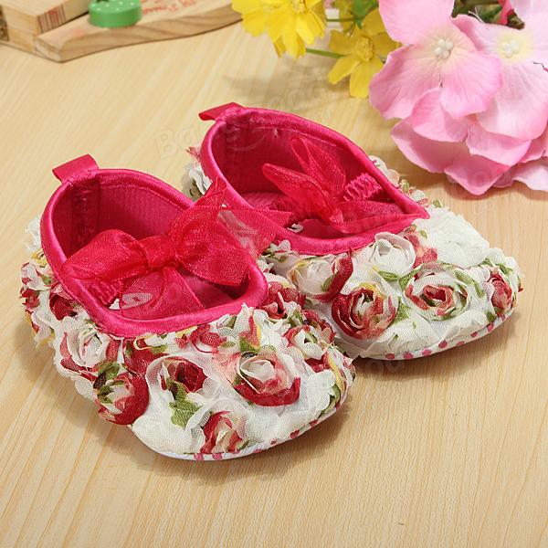 Petite fille infantile dentelle bébé fleur rose arc chaussures crèche mous
