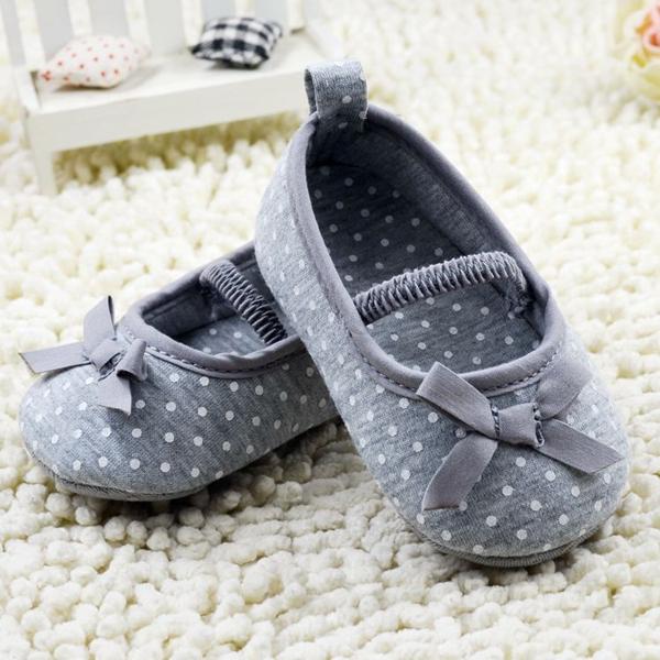 Nouvelles infantile bambin bébé coton bowknot points appartements chaussures gris 0-18months