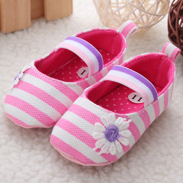 Bébé bébé chaussures à semelle souple toile bande florale princesse fille de bébé&