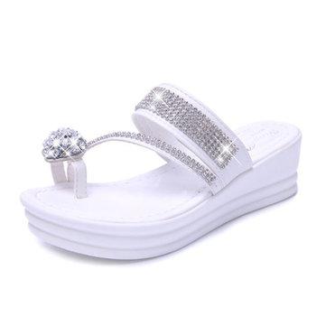 Les femmes casual slip à l'aise sur la plate-forme orteil anneau bascule sandales plage pantoufle chaussures