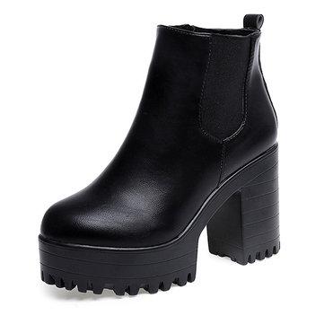 Femmes bottines plates-formes chunky bloquent des hauts talons chaussures à fermeture éclair