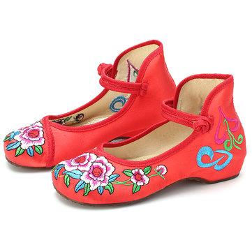 Mary Janes filles chinoises chaussures en coton brodé coloré danse de soie mocassins en tissu plat occasionnels