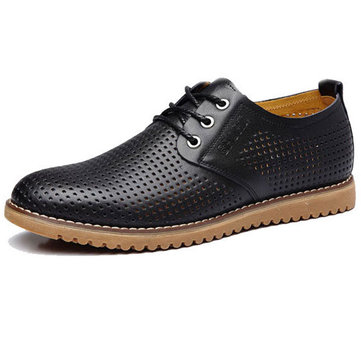 Big Size Men Breathable Casual Hollow Out Leather Oxfords Chaussures