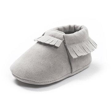 Toddlers tassel couleur pure douce semelle prewalker chaussures respirant bébé chaussures