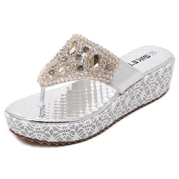 Plage de l'été des femmes en plein air diamant de mode casual sandales compensées chaussures pantoufles confortables