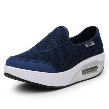 Bascule Semelle Chaussures de sport Femmes Glisser Décontracté Chaussures en Toile