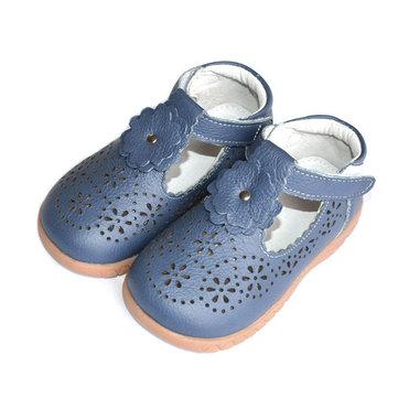 Filles d'été creux fleur points chaussures princesse en cuir artificiel