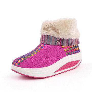 Doublure faux fourrure kitting plate-forme pliée bascule chaussures cheville