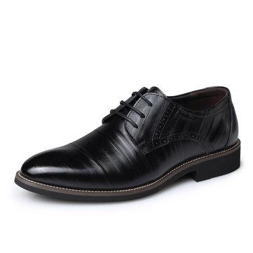 Chaussures d'Affaires Officielles Pointues en Cuir avec Lacet Pour Hommes