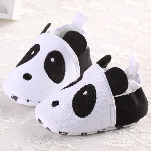 Tout-petit bébé panda élastiques chaussures crèche de coton semelles souples