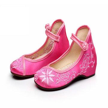 Filles Mary Janes broderie chinoise appartements chaussures de coton en tissu loafers de soie respirante occasionnels