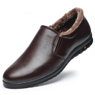 Chaussures d'Hiver Glissées en Laine Doublure en Bout Rond Garde au Chaud