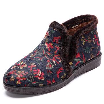 Chaussures de coton femmes hiver garder la doublure de fourrure chaude fleur bottes de neige plates
