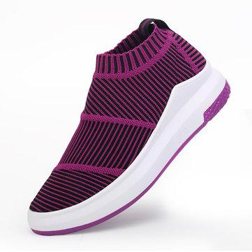 Women& Weave& Stripe& High& Top& Platform Casual Chaussures de sport respirantes