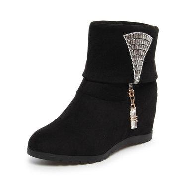 Femmes court bottes suède glisser sur chaussures à talons hauts de cristal décontracté de plein air