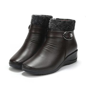 Fermeture à glissière en fausse fourrure doublure orteil autour de la cheville court bottes de neige pour les femmes