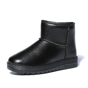 Grandes femmes de taille hiver chaud bottes de neige imperméables bottes courtes coton bottes plates