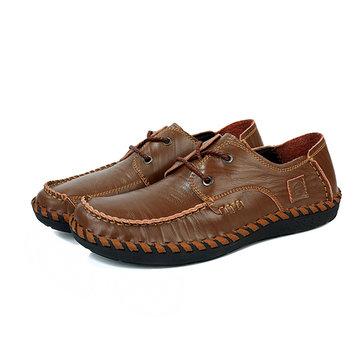 Les hommes en cuir décontractée en plein air dentelle confortable appartement jusqu'à rondes chaussures oxfords orteil