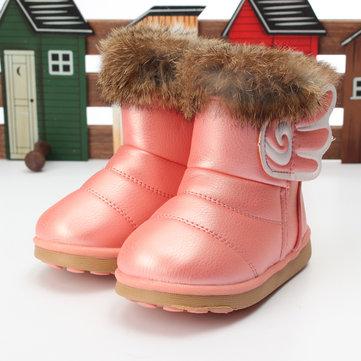 Enfants filles vraie fourrure de lapin PU chaussures en cuir des bottes d'hiver de neige chaude