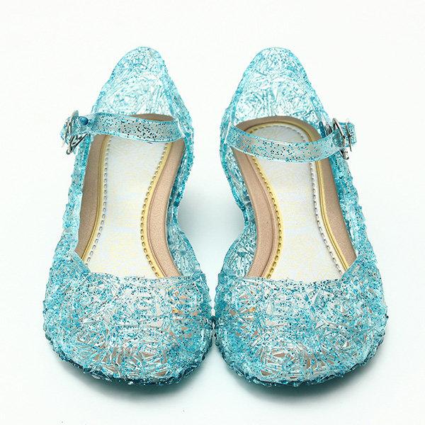Frozenly elsa princesse crystal trou sandales filles cosplay fille chaussures bleu&