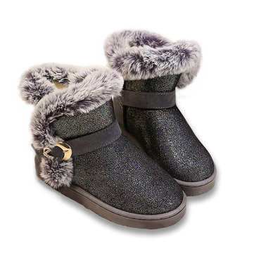Dames d'hiver bottes de neige chauds paillettes bottes bas talon court bottes bout rond cheville