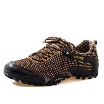 Les hommes du sport en maille plat rond orteil lacets mountaining respirante chaussures casual