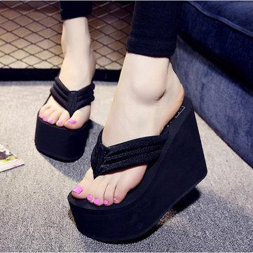 Les femmes sexy hauts talons tongs pantoufles coin plateforme chaussures de plage