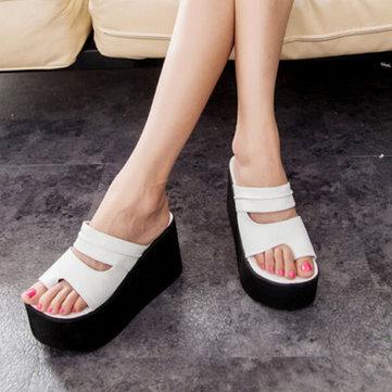 Les femmes roma plate-forme de coins hauts talons tongs pantoufles sandales chaussures de plage