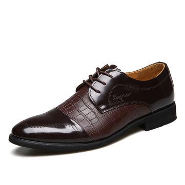 Hommes nouveau cuir formel mode à lacets plat chaussures d'affaires confortable