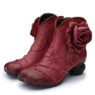 Femmes fleur casual chaussures en cuir dérapant sur de courtes bottines confortables