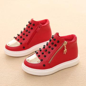 Enfants rivet pur couleur coté fermeture à glissière haut sneakers enfants chaussures occasionnels