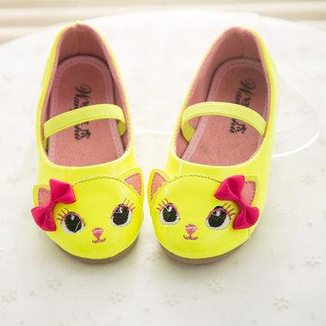 Filles chat dessin bowknot élastique princesse plat chaussures occasionnels confortables enfants chaussures