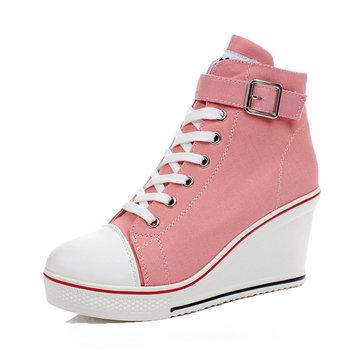 Grandes femmes de taille chaussures de toile à lacets et boucle talon compensé chaussures de sport
