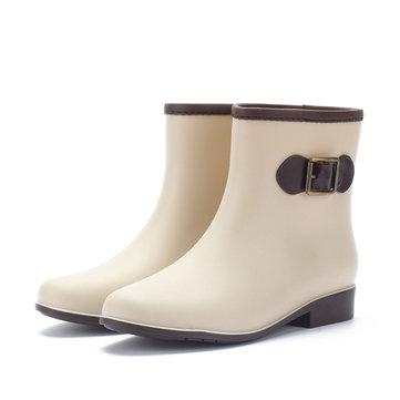 Femmes bottes de pluie occasionnelle imperméable slip anti-dérapant sur ??de courtes bottines